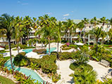 tropical gardens with meandering pool providenciales