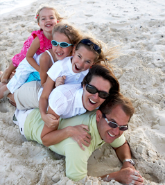 Family on Grace Bay Beach, Turks and Caicos